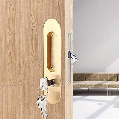 Fdit Zinc Alloy Sliding Door Locks Wooden Invisible Door Lock with 3 Keys Furniture Hardware Latch Indoor for Bathroom Closet Kitchen Balcony