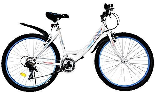 T&Y Trade 24 Zoll Kinder Mädchen Fahrrad Mädchenfahrrad Mädchenrad Mountainbike MTB Bike Rad 21 Gang Beleuchtung STVO 4100 WEIß BLAU