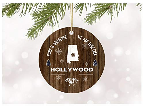 Christmas Tree with Ornament City State Hollywood Alabama Home Is Wherever We Are Together Long Distance Love Decoration for Xmas Holidays Rustic Xmas Ceramic 3' Flat Circle