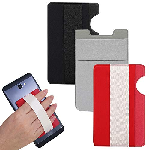 AFUNTA Handy-Kartenetui mit Riemen, 3 Stück, selbstklebende Kartenhalter für Ausweis, Kreditkarten, Kartenetui mit Fingerschlaufe, kompatibel mit den meisten Smartphones – Schwarz/Rot/Grau