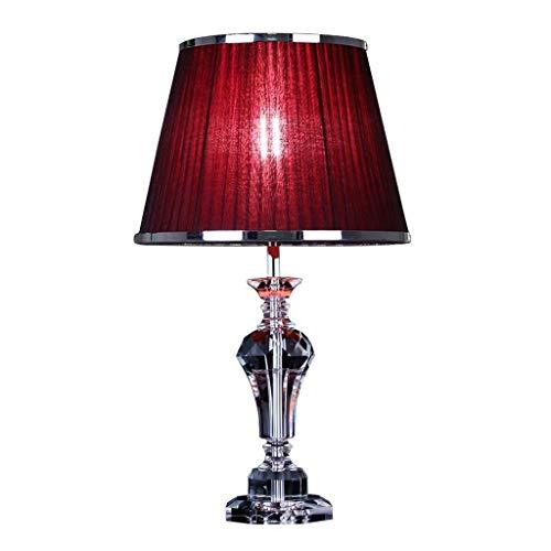 Fevilady - Lámpara de mesa de mesa de cristal para salón, pantalla de tela roja decorativa, moderna para lámpara de escritorio con mando a distancia (color: Wine rojo, tamaño: push Button)