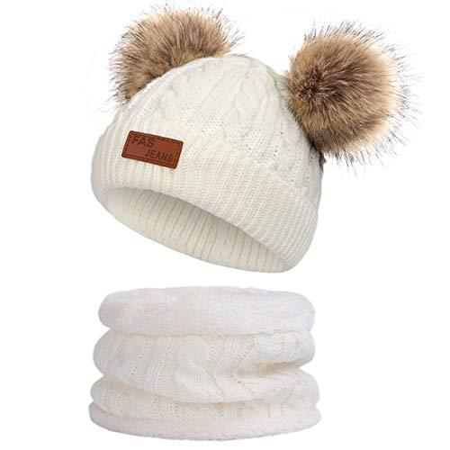 Yixda Baby Mütze Schal Set Mädchen Jungen Warm Fellbommel Beanie Hüte (B4-Weiß)