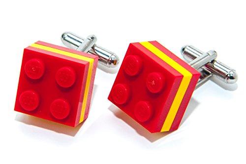 Drapeau Espagne authentique briques Lego Boutons de manchette – OLYMPIQUE DE FOOTBALL Sports Boutons de manchette fabriqué par Jeff Jeffers
