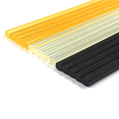Anyyion 15 PCS Paintless Dent Repair Kits Glue Sticks, 15Park - (5 Packs Black & 5 Pack Yellow & 5 Pack Transparent) Size: 11mm 270mm