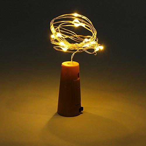 MASUNN Batterie Alimenté 15 LEDs en Liège en Forme De Fde Ruban Étoilé Lampe De Bouteille De Vin Lumière pour Noël Party Out-Chaud Blanc
