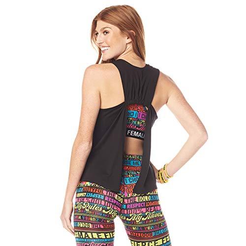Zumba Activewear Backless Top Deportivo Dance Fitness Camisetas de Entrenamiento, Power Black, X-Small