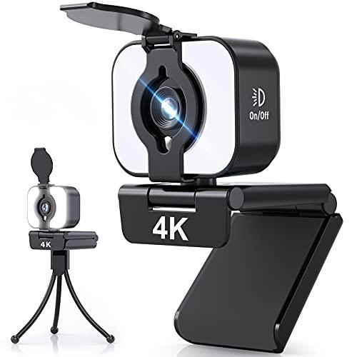 Webcam mit Mikrofon FamBrow 4K Ultra HD Streaming Web Kamera USB Computer Kamera mit Abdeckung 3-stufige Einstellbare Helligkeit 105° Sichtwinkel für Videoanruf, Konferenz, Online-Kurse, PC/Mac