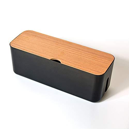N\C Caja organizadora de cables multifunción con tapa de grano de madera (negro)