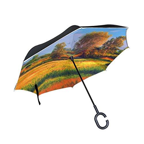 XiangHeFu - Paraguas invertido de Doble Capa, Diseño de árboles cultivados en el Paisaje y Plegable, Resistente al Viento, Protección UV, Gran Recto, para Coche, con Mango en Forma de C