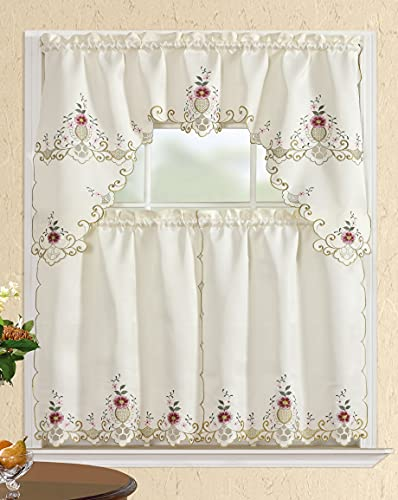 All American Collection Modern Contemporary 3pc Embroidered Home Kitchen Window Treatment Curtain Set (Swag Valance, Beige/Burgundy Flowers)