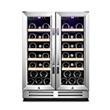 Karcassin 24 Inch Wine Cooler Refrigerator, 36 Bottle Red & White Wine Dual Zone Stainless French Door, Built-in & Freestanding at Home, Office, Kitchen, Bar