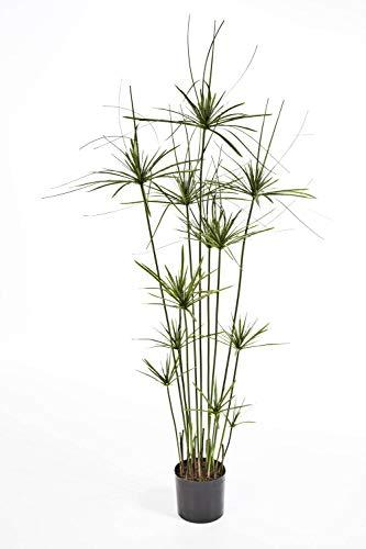 artplants.de Künstliches Cyperus Gras Ramses, 210 Blätter, grün, Deluxe, 140cm - Deko Papyrus Staude - Kunst Papier Pflanze