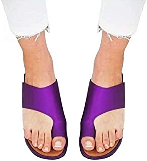 Women Shoes Women Flats Slippers Female Flat Sandals Slippers Women Classic Sandals Ladies Slippers Platform Shoes Simple casual sandals and slippers (Color : Purple, Shoe Size : 6)
