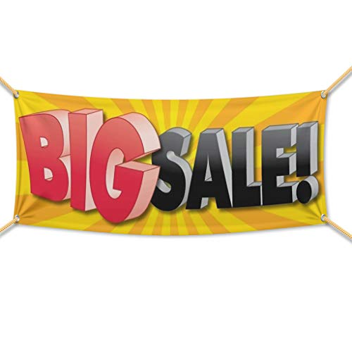 """VictoryStore Outdoor Banners -Business Banner - 2' X 6' """"Big Sale!� 10 oz. Vinyl Banner, with grommets for hanging"""