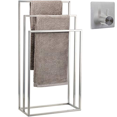 smartpeas Handtuchhalter / Handtuchständer stehend aus Edelstahl mit 3 Handtuchstangen +Plus: Edelstahl-Klebehaken
