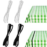Table Bungees Tablecloth Strap Band Tablecloth Bungee Cord to Hold Down Table Cloth for Outdoor Tables Kitchen Tables Picnic Camping Wedding Party, Black and White