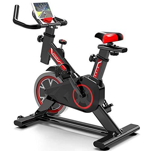 LSYOA Indoor Cycling Cyclette, Spin Bike stazionario con Volano Cinghia, Supporto Tablet Supporto Smartphone & Comodo Sella,Black Red