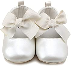 Anrenity Baby Girls Mary Jane Ballet Flats Shoes Toddler Infant Princess Dress Crib Shoes GZX-001WT White 6-12 Months