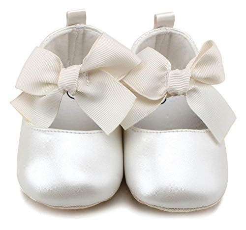 Anrenity Baby Girls Mary Jane Ballet Flats Shoes Toddler Infant Princess Dress Crib Shoes GZX-001WT White 0-6 Months