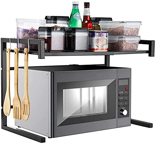 Uyoyous - Supporto per forno a microonde, in acciaio al carbonio, espandibile, 2 livelli di spazio e 2 ganci, colore: nero