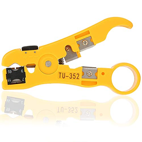 Abisolierwerkzeug,BETOY Koaxial Kabel Abisolierwerkzeug Universal Abisolierer Abisolierwerkzeug für Flache Oder Runde Für RG-59 RG-6 RG-7 RG-11, 4P/6P/8P, UTP/STP Antenne, Netzwerk,Ethernet, Gelb