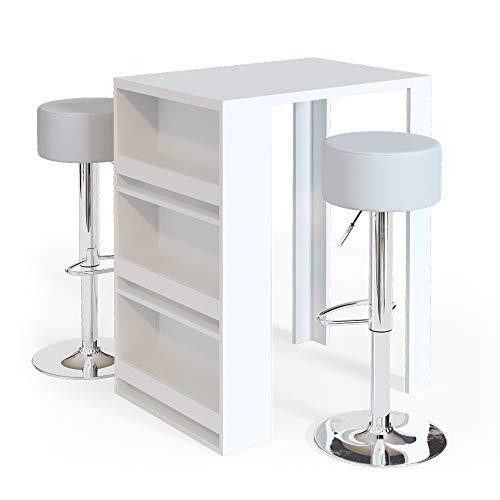 Vicco Bartisch Bar Weiß Anthrazit Tresen Bartresen Stehtisch Tisch Tresentisch Bistrotisch Küche mit 3 extra Fächern inkl. Barhocker (Weiß)