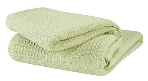 GLAMBURG 100% Cotton Thermal Blanket, Breathable Bed Blanket King Size, Soft Waffle Blanket, King Blanket, All Season Cotton Blanket, Sage Green