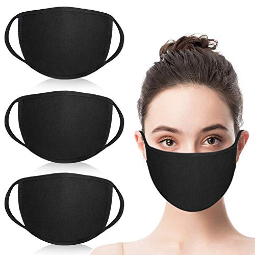 Simliber 3 Pack Unisex Fashion Mouth Mask Washable Reusable Cloth Masks Anti Dust Warm Ski Cycling Safety Face Mouth Mask,Black Cotton Face Mask for Cycling Camping Travel