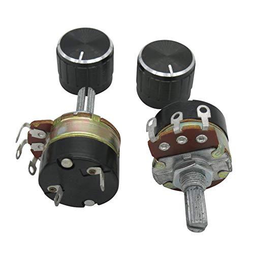 2 potenciómetros de 10 K ohmios con interruptor de encendido y apagado y 2 botones de aleación de aluminio negro