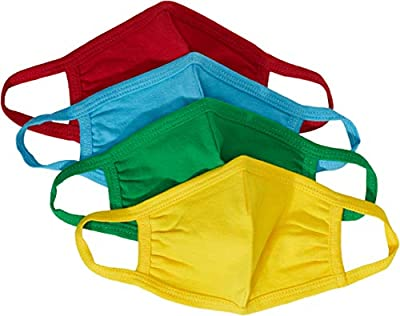 Quality Durables Unisex Kids 4-Pack Reusable Face Mask, Red/Yellow/Blue/Green, Little Kids from Quality Durables