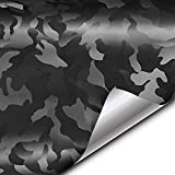 VViViD+ 2020 Edition Black Stealth Large Pattern Camouflage Vinyl Wrap Roll (1ft x 5ft)