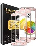 UniqueMe [2 Pack] Protector de Pantalla para Samsung Galaxy S7, 9H Dureza Vidrio Templado [Garantía de por Vida]- Oro Rosa