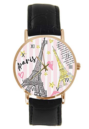 Vintage Paris Postkarte Eiffelturm Rose und Fahrrad Armbanduhr Fashion Klassisch Unisex Analog Quarz Edelstahl Gehäuse Lederarmband Uhren