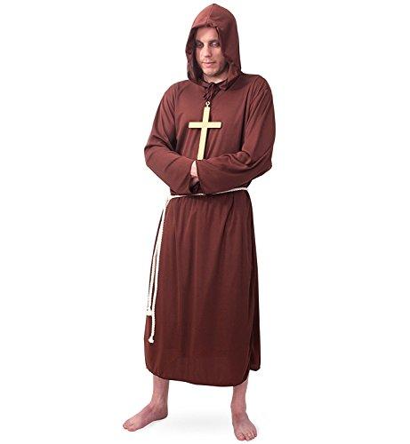 KarnevalsTeufel Hochwertiges Mönchskostüm für Herren | 2-teiliges Priester-Gewand bestehend aus Kapuze und Gürtel | Robe | Mönch-Kostüm | Mittelalterliches Faschingskostüm | (XXL)