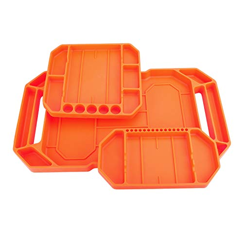 HandsEase Automotive Non-slip Flexible Tool Tray, 3pcs Original Non-magnetic Silicone Tool Tray, Large Tool Organizer and Storage Securely Form to Any Surface for Easy Part Pickup