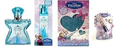 Disney Frozen Anna Eau De Toilette Perfume, Elsa Body Mist Spritzer, Bath Crystals And Body Shimmer Gift Set