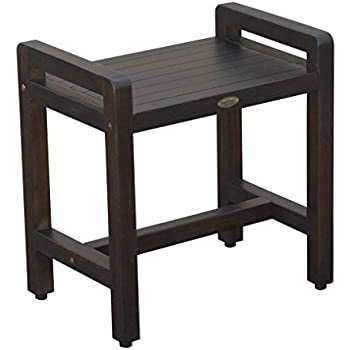 """Classic 20"""" Teak Shower Bench with LIFTAIDE ARMS- Adustable Height Foot Pads- Home Health Medical Bench Features-Sitting, Shaving, Display, Storage"""
