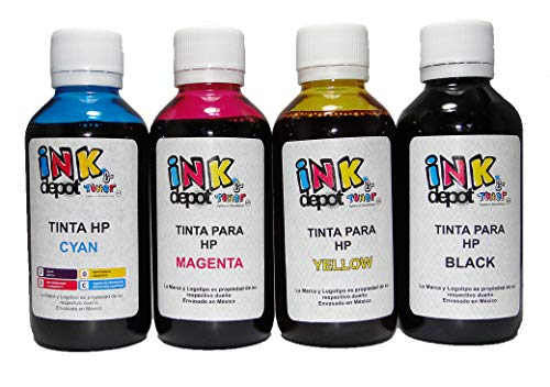 INK Depot Juego de 4 Tintas Marca Compatible con HP para Recarga de impresoras, multifuncionales,...