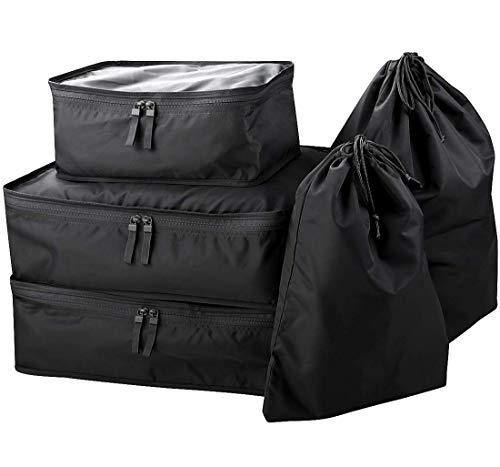 Reisekleidung, Schuhe, Wäschespeicherbeutel, tragbarer Reiseorganisatorbeutel, Packwürfel-Set, Kleidungssortierpaket, Schwarz, 5er-Set