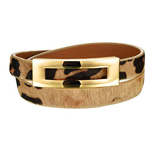 bigsoho Elegant Schmuck Legierung Armreif Leder Armband Wickelarmband Armreif Damen Geschenk Farbe Leopard
