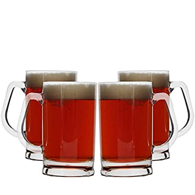 Lily's Home Unbreakable Acrylic Classic Beer Mug, Made of Shatterproof Plastic and Ideal for Indoor and Outdoor Use, Reusable, Crystal Clear (16 oz. Each, Set of 4)