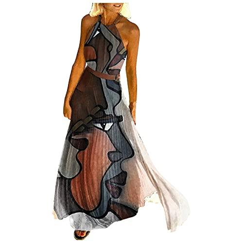 GOKOMO Sommerkleider Damen Lang Halter Geometrisch Elegant Kleid Sexy Lose Strandkleider Freizeitkleid Partykleid Plisseekleid