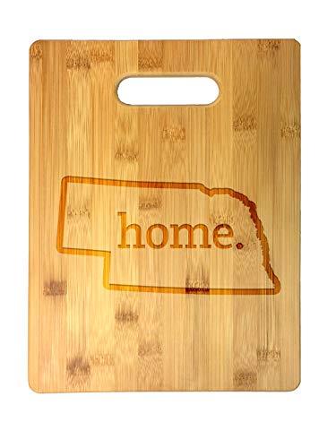 Home State Nebraska Outline USA United States Laser Engraved Bamboo Cutting Board - Wedding, Housewarming, Anniversary, Birthday, Father's Day, Gift (Nebraska)