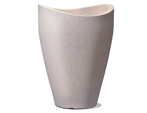 Scheurich Wave Globe High, Hochgefäß aus Kunststoff, Taupe-Granit, 40 cm Durchmesser, 54 cm hoch, 16 l Vol.