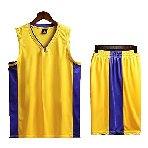 SJWJ Jersey para Hombres y Mujeres, Uniformes de Entrenamiento de Baloncesto, Tops y Pantalones Cortos,Yellow 1,5XL