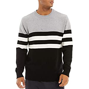 MAGCOMSEN Men's Crewneck Sweater Soft Thermal Knitted Sweatshirt Color Block Striped
