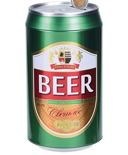 Hucha con forma de lata de cerveza, con ranura para introducir los ahorros – Medidas 10 x 19 cm