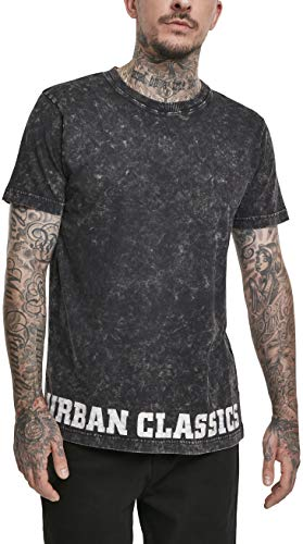 Urban Classics Herren Acid Washed Logo Tee T-Shirt, Black, M