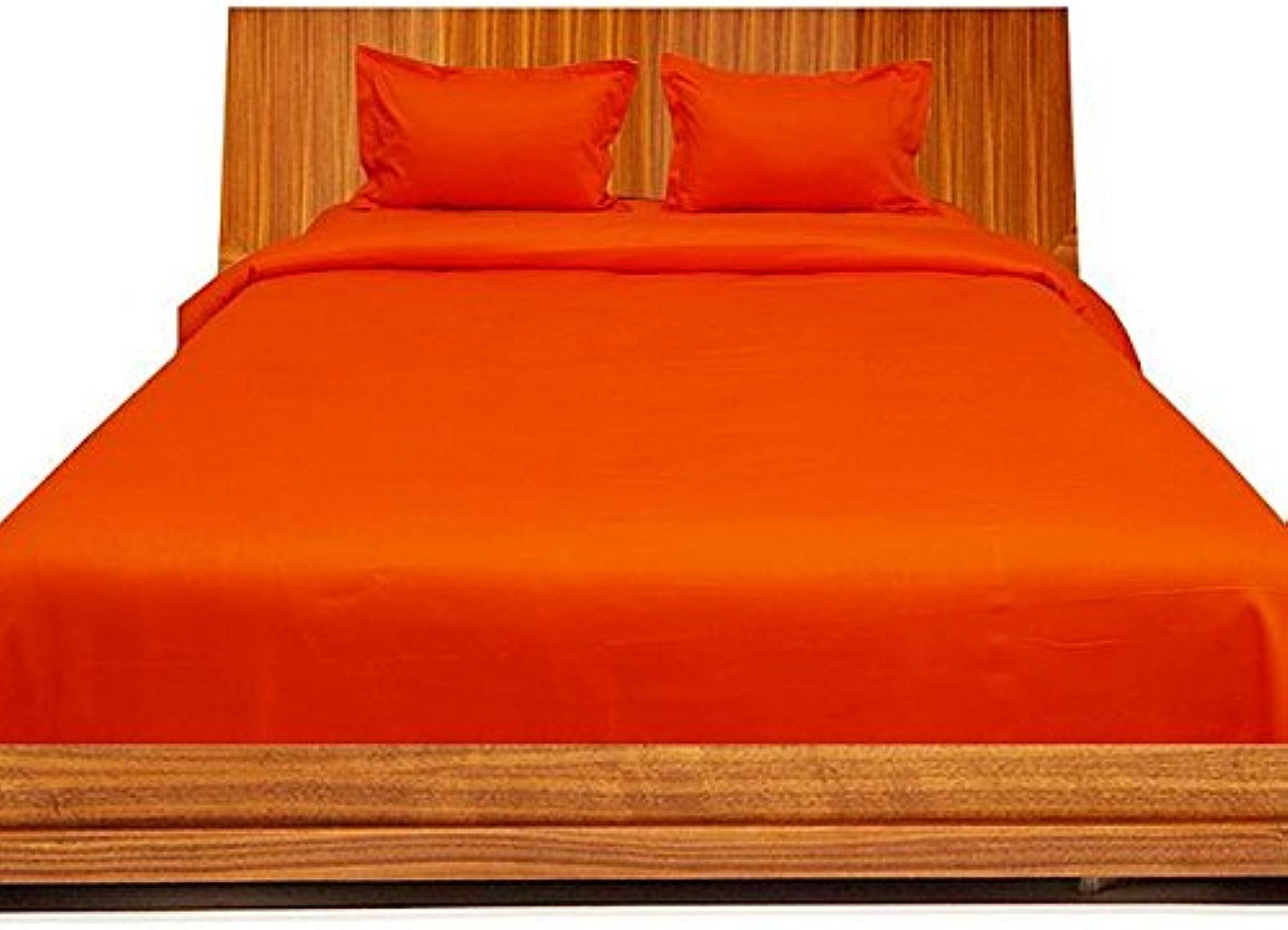 Coton égypcravaten simple 550 fils cm2, 46 cm, Ensemble de draps de gousset UK Double Uni Orange - 100%  coton