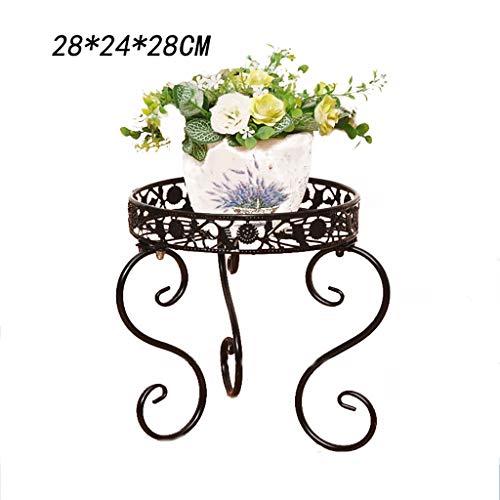 Porte-fleurs en fer style européen étagère de bureau/support de pot au sol décoration de meubles intérieur et extérieur 3 couleurs (Couleur : A, taille : 28 * 24 * 28CM)